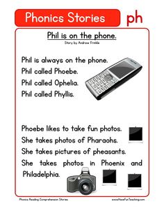 Using this Phil is on the Phone PH Phonics Reading Comprehension Worksheet, students build their reading comprehension and phonics skills while reading words featuring PH. First Grade Reading Comprehension, Phonics Reading, Reading Comprehension Worksheets, Teaching Phonics, Phonics Worksheets, Teaching Reading, Jolly Phonics, Reading Response, Comprehension Strategies