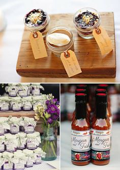 Package wedding favors in mini jars or bottles and top off with custom labels for a pretty presentation! {Photos from: Paperlily Photography, Claire Marika Photography, Tara Welch Photography}