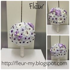 Ivory White and Purple Bow Bouquet by Fleur