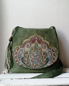0f5a4bbc8d27 Green messenger bag Green oriental bag Oriental purse Boho crossbody bag  Vegan bag Medium sized bag Sling boho bag Hippie bag Evening bag