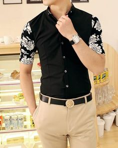 $13.36 Casual Style Stand Collar Color Block Floral Print Half Sleeves Polyester Shirt For Men