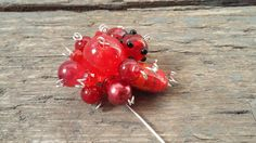 Red bead pin brooch handmade red brooch red bead by reccabella