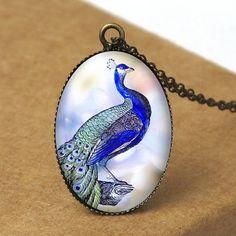 Peacock Pendant Necklace Bird Jewelry Bird by petiteVanilla, $8.00