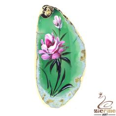PRETTY HAND PAINTED FLOWER GEMSTONE AGATE DIY NECKLACE PENDANT BEAD ZL801508 #ZL #Pendant
