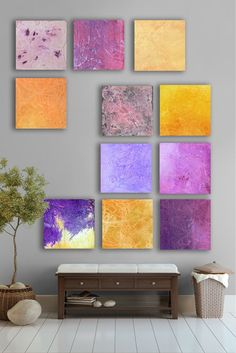 My Artwork-  Huge Purple and yellow Abstract art Painting, - 11 square  CUSTOM Wall Art -  Purple, Lavender, Sun yellow, Carmel, Royal purple, eggplant, Dark purple  On ETSY: https://www.etsy.com/listing/95962723/purple-and-yellow-easter-abstract-art?listing_id=95962723_slug=purple-and-yellow-easter-abstract-art