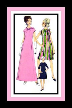 Vintage 1967- Evening Gown -Cocktail Dress-Vogue Special Design-Sewing Pattern Bias Roll Collar -Vogue Woven Label -Uncut -Collectible