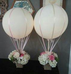 New baby shower flowers centerpieces hot air balloon ideas Wedding Balloon Decorations, Wedding Balloons, Wedding Centerpieces, Wedding Table, Modern Centerpieces, Table Decorations, Christening Centerpieces, Birthday Decorations, Baby Shower Table Centerpieces