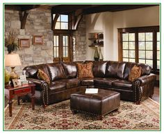 High Quality Excellent Idea On Rustic Leather Sectional Sofa With Tables And Carpets