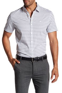 Short Sleeve End On End Horizontal Stripe Print Slim Fit Shirt
