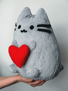 Pusheen the Cat with Heart, Plush Toy Kawaii Plush, Cute Plush, Kawaii Cute, Cat Crafts, Sewing Crafts, Sewing Projects, Pusheen Cat, Cute Stuffed Animals, Sock Animals