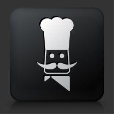Black Square Button with Chef Head Icon vector art illustration