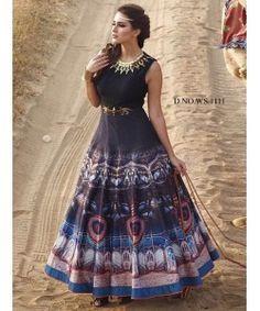 Navy Blue Fancy Designer Gown  http://www.kmozi.com/navy-blue-fancy-designer-gown-892