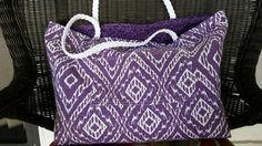 Purple Beach Tote Bag w/ beach towel scrunchie