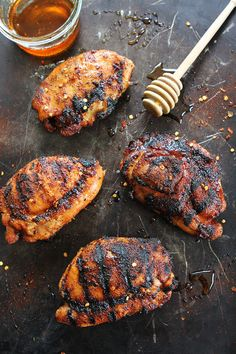 Sweet and Spicy Grilled Chicken Recipe on twopeasandtheirpod.com Get out your grill and make this easy grilled chicken for Father's Day!