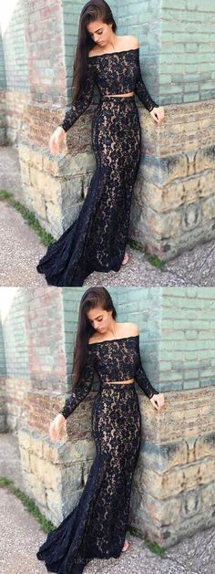 Two Piece Prom Dresses, Long Prom Dresses With Sleeves, Mermaid Formal Dresses Black, Lace Evening Dresses 2018
