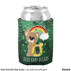 Saint Patrick& Day Lucky Harp Bear Can Cooler - saint patricks day st patricks holiday ireland irsih special party St Patricks Day, Saint Patricks, St Patrick's Day Gifts, Harp, Drink Sleeves, Canning, Holiday, Ireland, Design