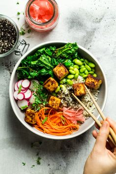 Miso tofu bowl is a simple yet delicious lunch idea full of contrasting flavours and textures. It's easy to put together, travels well and it's naturally gluten-free too.