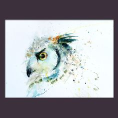 JEN BUCKLEY original contemporary Owl Watercolour PAINTING large A3