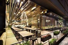 Sensational Coffee Shop Design of the Gaga Deli: Awesome Gaga Restourant… Open Air Restaurant, Design Bar Restaurant, Luxury Restaurant, Outdoor Restaurant, Restaurant Ideas, Coffee Shop Design, Cafe Design, Modern Cafe, Restaurant Interior Design
