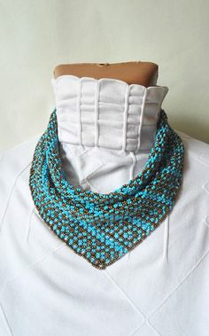 scarf neckerchief ornament solitaire beaded Beaded Necklaces jewelry gift the women blue bronze beadwork gift shawl beaded