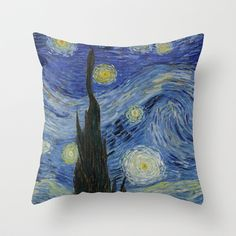 Starry Night by Vincent Van Gogh Throw Pillow by ArtMasters - $20.00