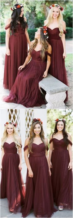 Wedding, Bridesmaid, Dresses, Fall, Autumn, Winter, Maroon, Burgundy, Mulberry, Scarlet