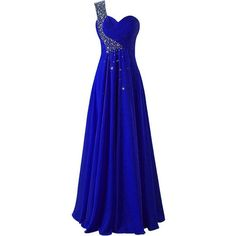 JAEDEN One Shoulder Long Bridesmaid Prom Dresses Chiffon Evening Gowns ($79) ❤ liked on Polyvore featuring dresses, gowns, bridesmaid dresses, long evening dresses, blue bridesmaid dresses, long evening gowns and blue gown