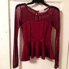 Peplum Top Sheer on top. Keyhole back. Worn once. Medium in juniors. Classic! Geric Tops