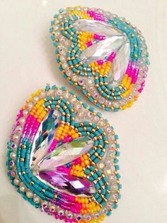 Beadwork earring native american pow wow fashion accessory