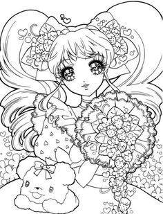 Print and Color Sparkly Eyed Shoujo Beauties ~ Drop Dead Cute - Kawaii for Sexy Ladies