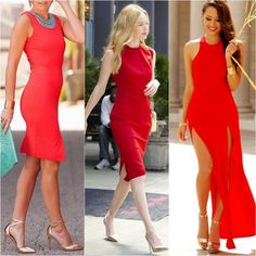 What Color Shoes to Wear with Red Dress - gold shoes red dress