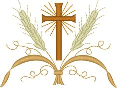Vintage Ecclesiastical Cross Design 280a Embroidery Design. One of the many meanings of wheat in Christian symbolism is the representation of the gifts of God, the fullness and the bounty of the Lord.