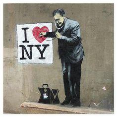 ACHICA | BANKSY - I Love NY Canvas Wall Art, 100 x 80 cm