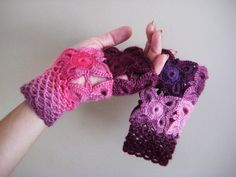 Fingerless gloves, lace mittens Autumn Winter Gloves Elegant ladies mittens, pink purple fuchsia mittens, Girl beautiful gift,  gift for her by BoryanacrochetBG on Etsy
