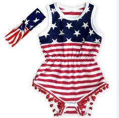 2016 New infant baby Bodysuits Summer American Flag Cotton Bodysuits For Unisex Wholesale Baby Clothing 0-2T 3005