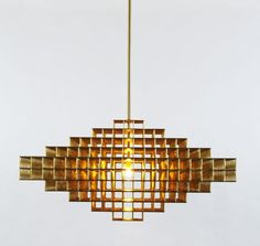 Gridlock 7440 - brass lamp in Brutalist style - Philippe Malouin - Roll & Hill NYC Contemporary Lamps, Contemporary Design, Chandeliers, High End Lighting, Design Movements, Lighting Manufacturers, Glass Diffuser, Vintage Chandelier, Elle Decor