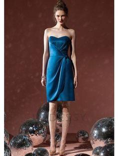 Delicate Column Knee Length Shorts Strapless Royal Blue Bridesmaids Dresses Kate Upton