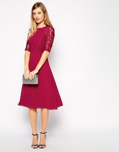 ASOS TALL Midi Skater Dress With Lace Panels