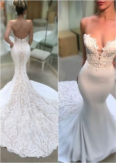 Sleek and sexy! Check out the MARNIE gown and more from Enzoani's 2018 wedding d… Sleek and sexy! Check out the MARNIE gown and more from Enzoani's 2018 wedding dress collection Sexy Wedding Dresses, Perfect Wedding Dress, Wedding Attire, Bridal Dresses, Wedding Gowns, Wedding Day, Backless Wedding, Wedding Veil, Sleek Wedding Dress