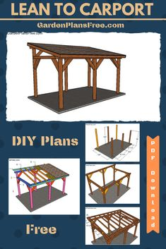 The pergola kits are the easiest and quickest way to build a garden pergola. There are lots of do it yourself pergola kits available to you so that anyone could easily put them together to construct a new structure at their backyard. Diy Pergola, Wooden Pergola Kits, Pergola Carport, Building A Pergola, Modern Pergola, Lean To Carport, Carport Plans, Carport Garage, Pergola Plans