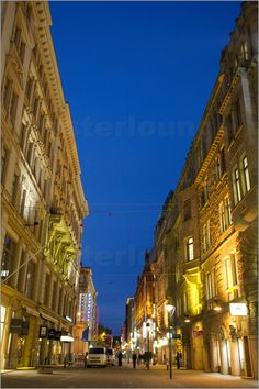 Stephane Victor - Streetscape at night. Helsinki, Finland.