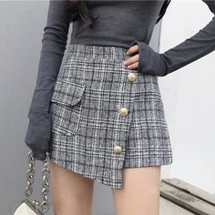 Material: Polyester Gender: Women Pattern Type: Plaid Silhouette: A-Line Dresses Length: Above Knee, Mini Style: England Style Decoration: Button Waistline: Natural Grunge Style, Soft Grunge, Tokyo Street Fashion, Grunge Outfits, Fashion Outfits, Short Skirts, Short Dresses, Mini Skirts, Doc Martens