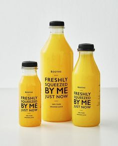 Juice Packaging design Cup, Booths Supermarket Packaging Gets a Simple Yet Effect Redesign Juice Juice Branding, Juice Packaging, Coffee Packaging, Beverage Packaging, Bottle Packaging, Brand Packaging, Juice Logo, Chocolate Packaging, Simple Packaging