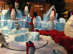 Skating penguins! Bellagio, Las Vegas Christmas exhibit