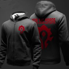 World Of Warcraft Zipper Hooded Sweatshirts Student Winter Hoodie Thick Black Red