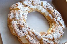 Paris-Brest:  Crunchy toasted almonds, spongy/chewy choux, rich but light chantilly cream and beneath it all a luxurious almond-praline pastry cream.