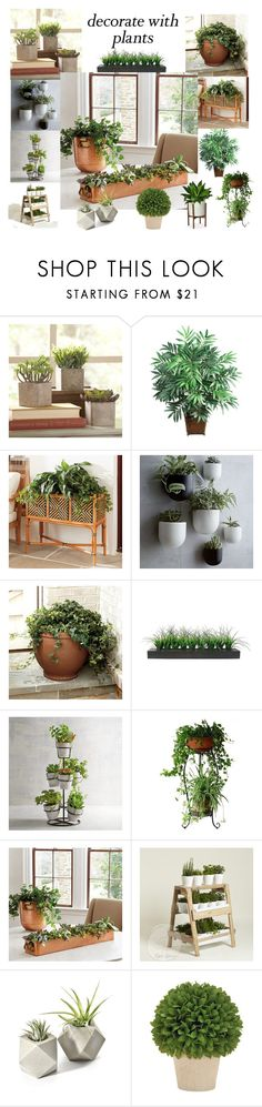 """Interior Planters"" by glassdreamshawaii ❤ liked on Polyvore featuring interior, interiors, interior design, home, home decor, interior decorating, Nearly Natural, Ballard Designs, West Elm and Vintage"