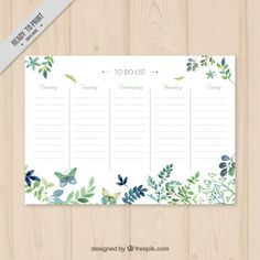 More than a million free vectors, PSD, photos and free icons. Exclusive freebies and all graphic resources that you need for your projects Planner Template, Printable Planner, Planner Stickers, Free Printables, Week Planner, Planner Pages, Planner Diario, Watercolor Leaves, Motif Floral