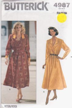 Sewing pattern for long sleeved dress with wrap front bodice and full skirt misses size 14 16 18 Butterick 4987 UNCUT