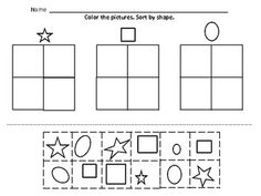 Kindergarten Worksheets Sorting: Kindergarten Math Sorting   by color  by size  by shape  button    ,